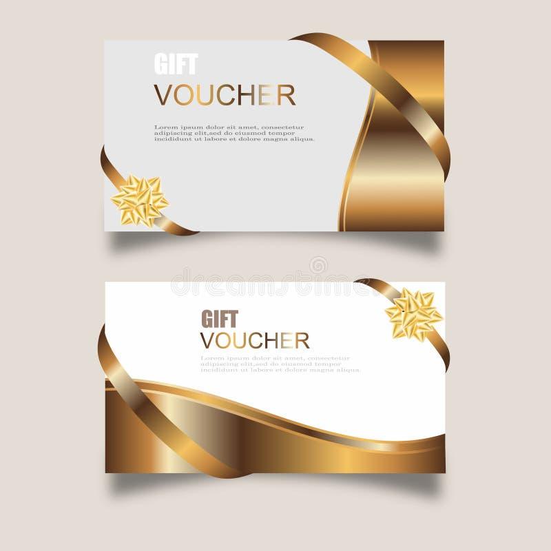 Vektorsatz Luxusgeschenkgutscheine mit Bändern und Geschenkbox Elegante Schablone für eine festliche Geschenkkarte, -kupon und -z lizenzfreie abbildung