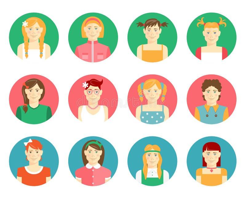 Vektorsatz Mädchen und Avataras der jungen Frauen vektor abbildung