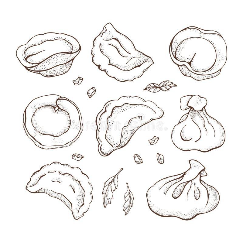 Vektorsatz Mehlklöße mit Gewürz Skizzenhandgezogene Ravioli Vareniki Pelmeni Russisches pelmeni auf einer Platte Nahrung kochen lizenzfreie abbildung