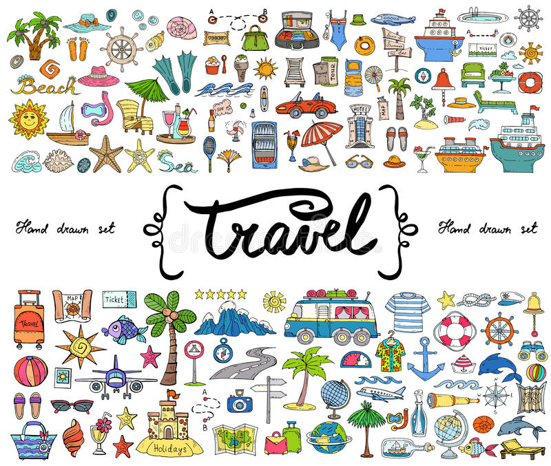 Vektorsatz mit Hand gezeichneten farbigen Gekritzeln auf dem Thema der Reise, Tourismus Skizzen für Gebrauch im Design lizenzfreie abbildung