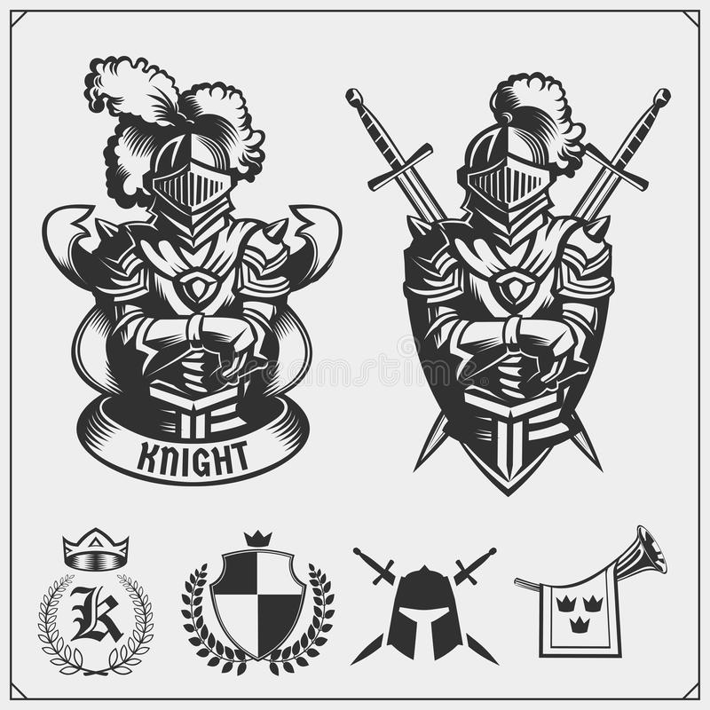 Vektorsatz mittelalterliche Kriegersritterembleme, Logos, Aufkleber, Ausweisembleme, Zeichen und Gestaltungselemente lizenzfreie abbildung