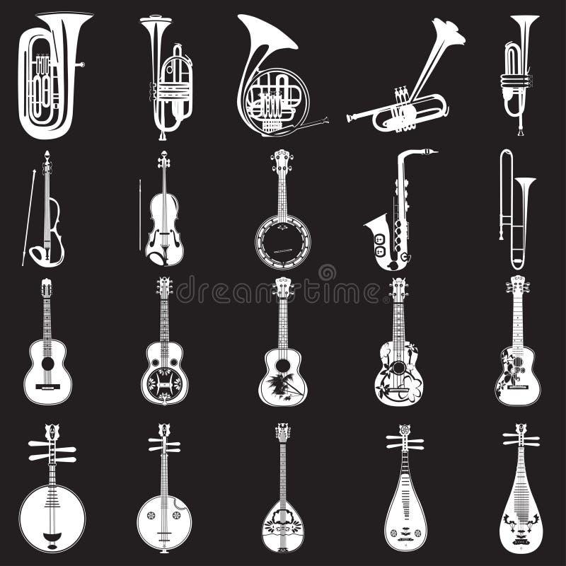Vektorsatz Musikinstrumentschablonen in der flachen Art vektor abbildung