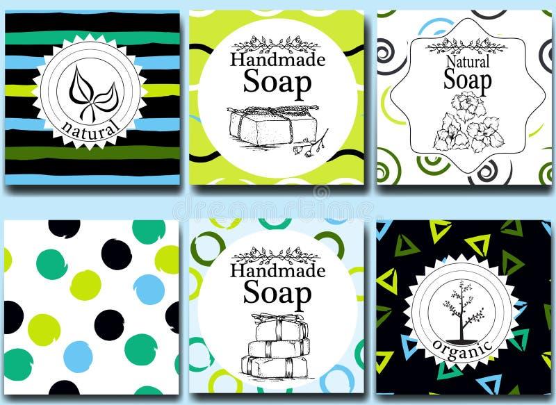 Vektorsatz nahtlose Muster, Aufkleber und Logo entwerfen Schablonen für handgemachte natürliche Seifenverpackung und -Packpapier lizenzfreie abbildung