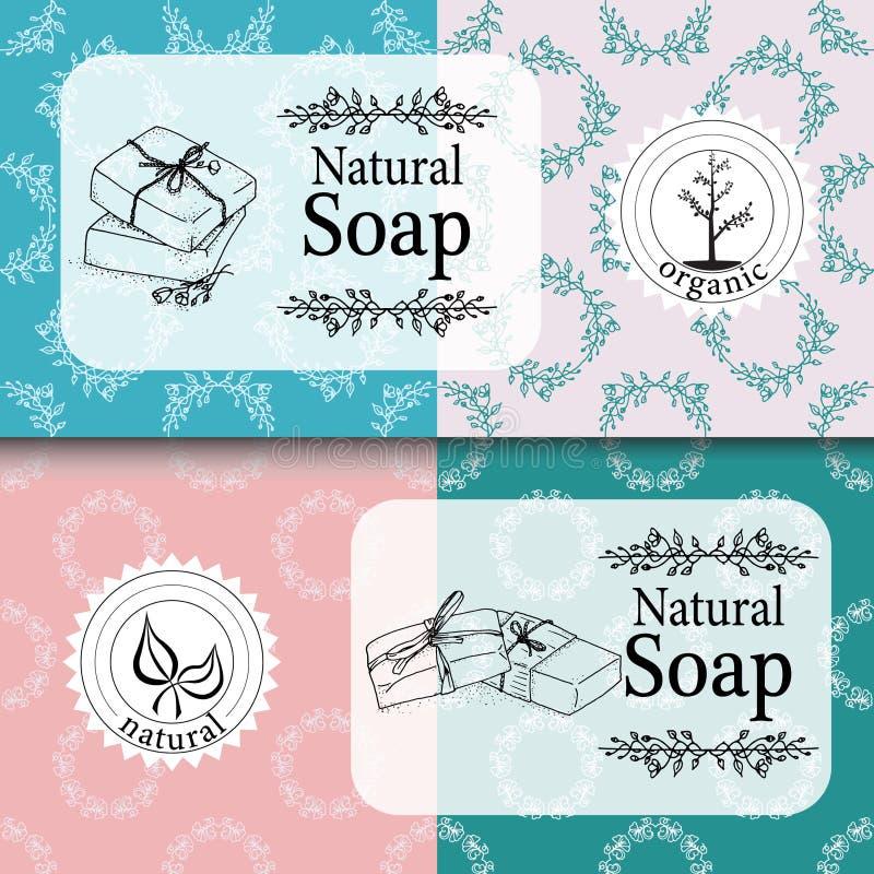 Vektorsatz nahtlose Muster, Aufkleber und Logo entwerfen Schablonen für handgemachte Seifenverpackung und -Packpapier lizenzfreie abbildung