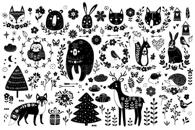 Vektorsatz nette Tiere: täuschen Sie, tragen Sie, Kaninchen, Eichhörnchen, Wolf, Igeles, Eule, Rotwild, Katze, Maus, Vögel Sammlu lizenzfreie abbildung