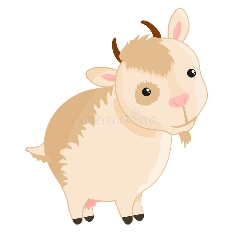 Vektorsatz nette Ziegen auf weißem Hintergrund Ziegen gemacht in der Karikaturart vektor abbildung