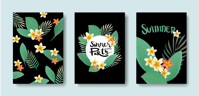 Vektorsatz Postkarten mit den Tropen stock abbildung