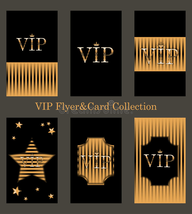 Vektorsatz Promi-Karten mit goldener Folie vektor abbildung