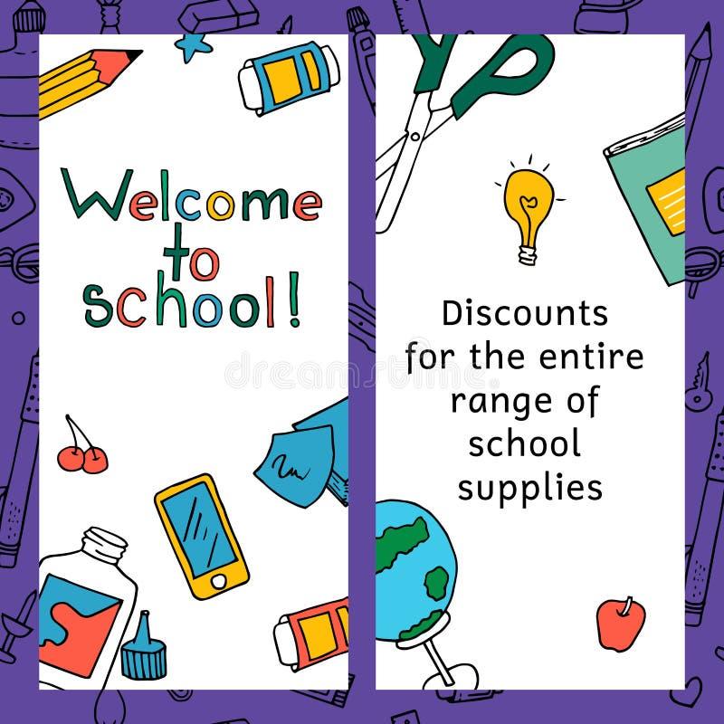 Vektorsatz Rabattkupons für Briefpapierzusätze Die Schule zeichnet Ikonen und Symbole vektor abbildung