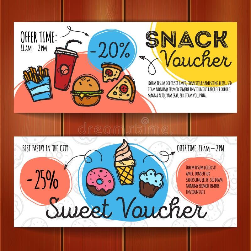 Vektorsatz Rabattkupons für Schnellimbiß und Nachtische Bunte Gekritzelart-Belegschablonen Snack Promoangebot lizenzfreie abbildung