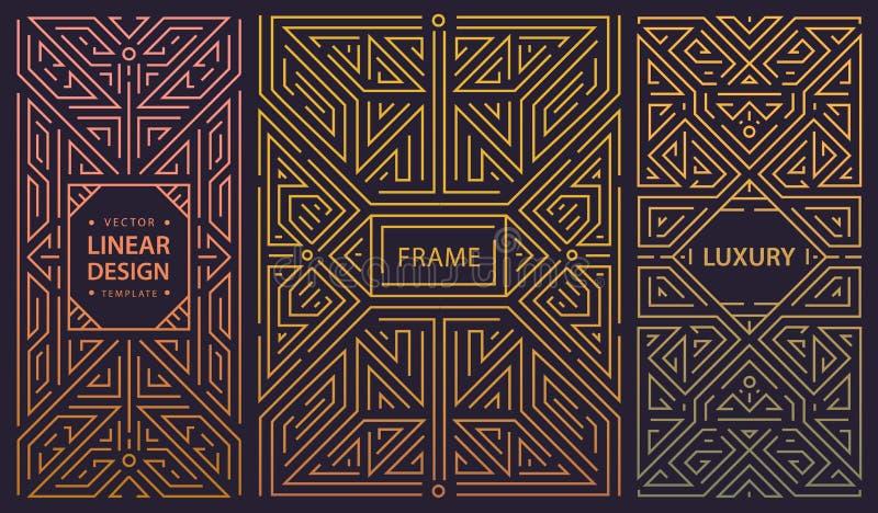 Vektorsatz Rahmen deco der abstrakten Kunst Lineare moderne Art, geometrische Fahnen des Monogramms, Luxusverpackungsgestaltung,  stock abbildung