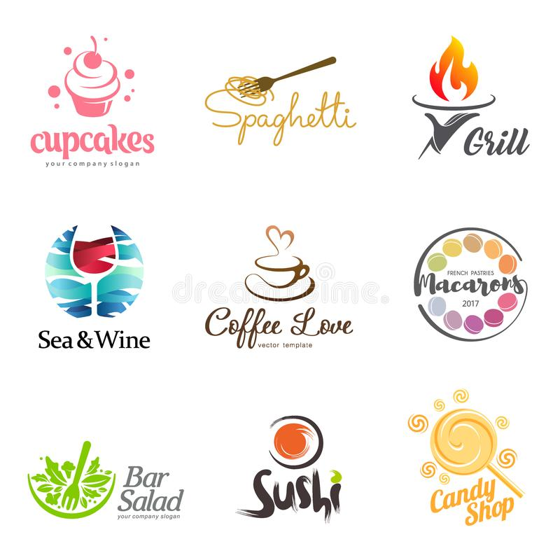 Vektorsatz Restaurantlogodesign Ikone Eco Lebensmittel-, Wein-, Sushi-, Kuchen-, Makronen-, Kaffee- und Grill Tellerelement-Ikone stock abbildung