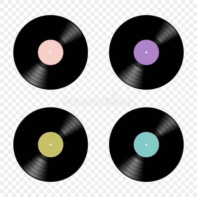 Vektorsatz Retro- flache Ikonen der Musikvinylaufzeichnungen lokalisiert auf einem transparenten Hintergrund Elemente für Ihre Au vektor abbildung
