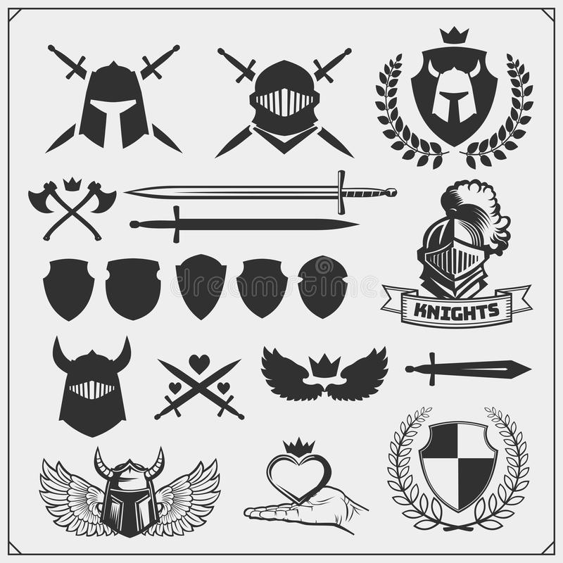 Vektorsatz Ritterzeichen, -ikonen und -Gestaltungselemente lizenzfreie abbildung