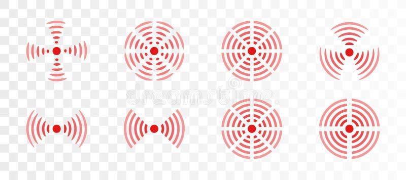 Vektorsatz Rot schellt Ikone für medizinische Designillustration Schmerzen Sie Kreis, um schmerzliche Körperteile auf transparent lizenzfreie abbildung