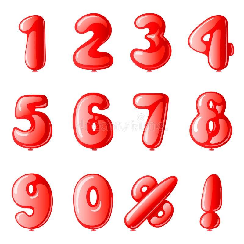 Vektorsatz rote Zahlballone f?r feiern oder rechnen ab vektor abbildung