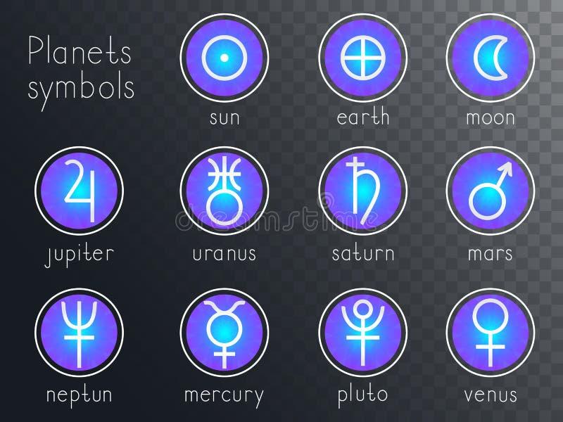 Vektorsatz runde Ikonen mit astrologischen Planetensymbolen stock abbildung