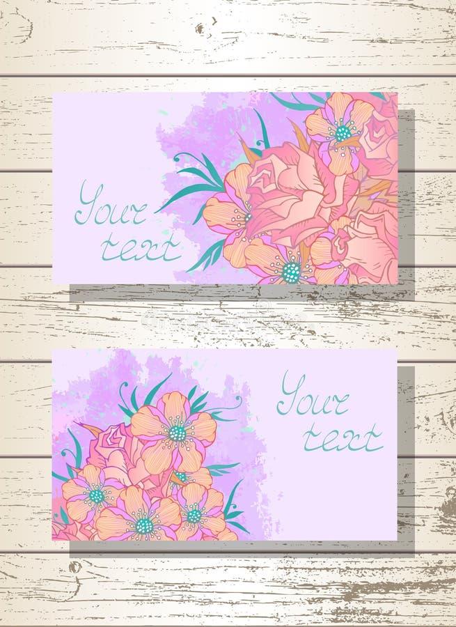Vektorsatz Schabloneneinladungen oder Grußkarten mit Hand gezeichneten Blumen, Rosen und Aquarellelementen lizenzfreie abbildung