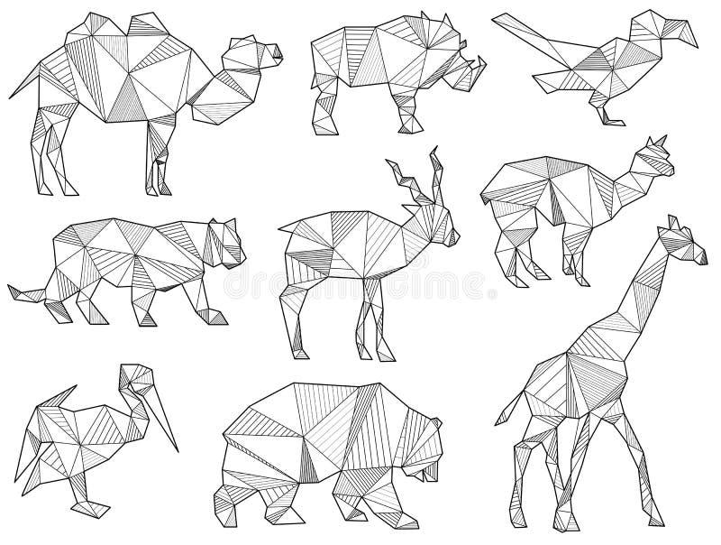 Vektorsatz Schattenbilder des wilden Tieres des Origamis lizenzfreie abbildung