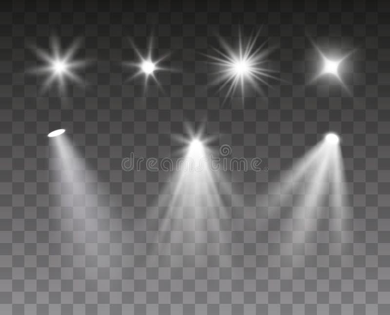 Vektorsatz Scheinwerfer und helle gesprengte Effekte lokalisiert auf dunklen Hintergrund stock abbildung