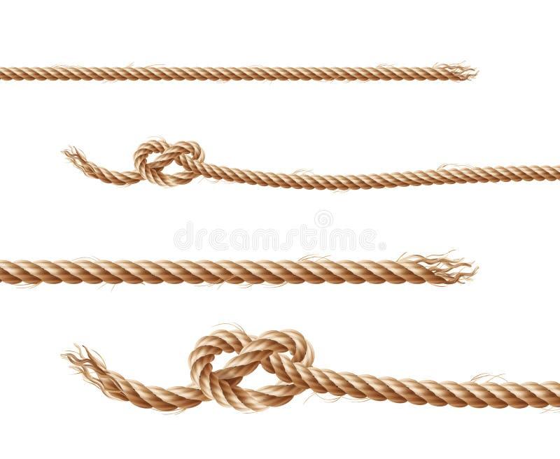 Vektorsatz Seile, Jutefaser oder Hanfkordeln stock abbildung