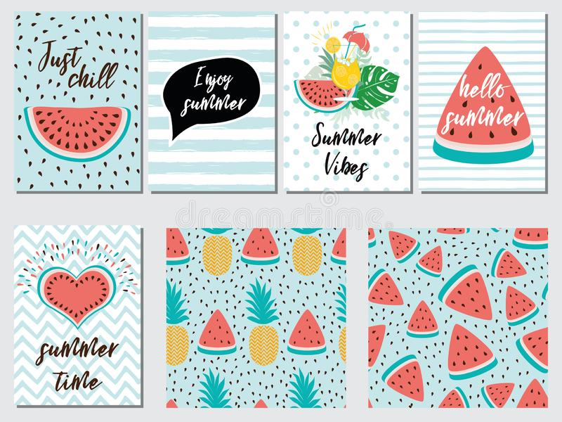 Vektorsatz Sommerferienkarten mit Fruchtwassermelonenananas zitiert blaues Rosa vektor abbildung