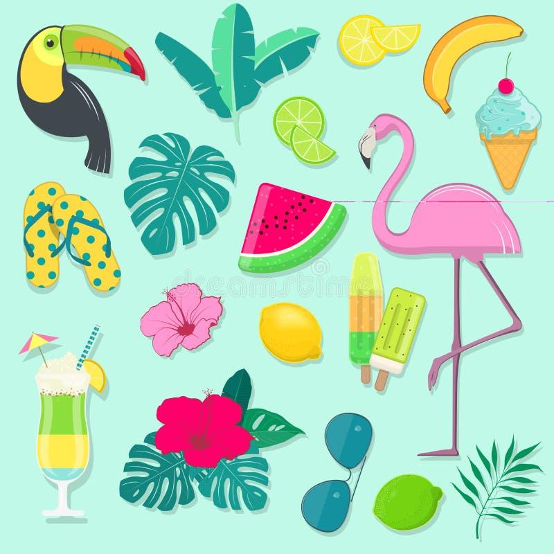 Vektorsatz Sommerfestikonen mit tropischen Vögeln, Früchten, Blumen und Cocktail lizenzfreie abbildung