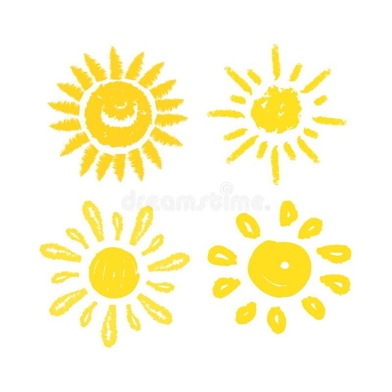 Vektorsatz Sonnen Vier gemalte Solarsymbole vektor abbildung