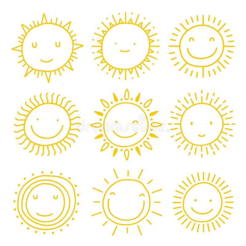 Vektorsatz Sonnenikonen Sammlung Sonnen stock abbildung