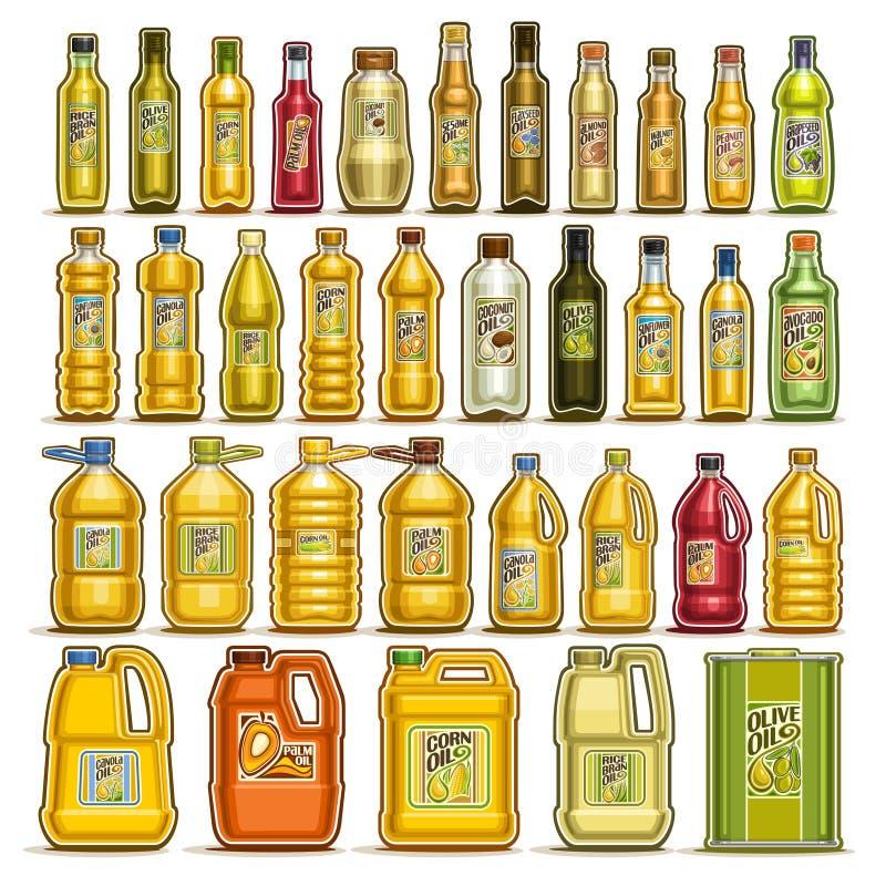 Vektorsatz Speiseöl in den Flaschen vektor abbildung