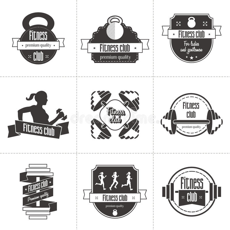 Vektorsatz Sport und Fitness-Club-Logo, athletische Aufkleber und Ausweisschablonen lizenzfreie abbildung