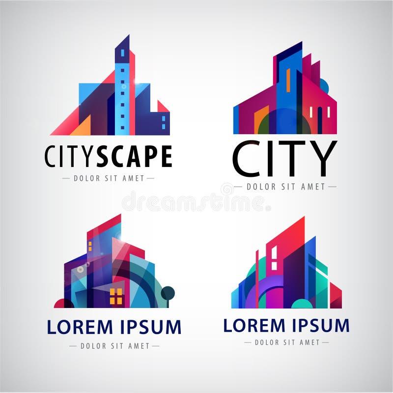 Vektorsatz Stadt scape Gebäude-Eigentumslogos, Stadt, Wolkenkratzer vektor abbildung