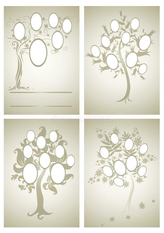 Vektorsatz Stammbaumdesigne lizenzfreie abbildung