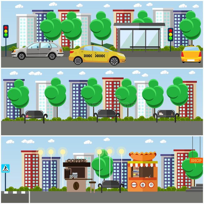 Vektorsatz Straßenkonzeptgestaltungselemente, flache Art stock abbildung