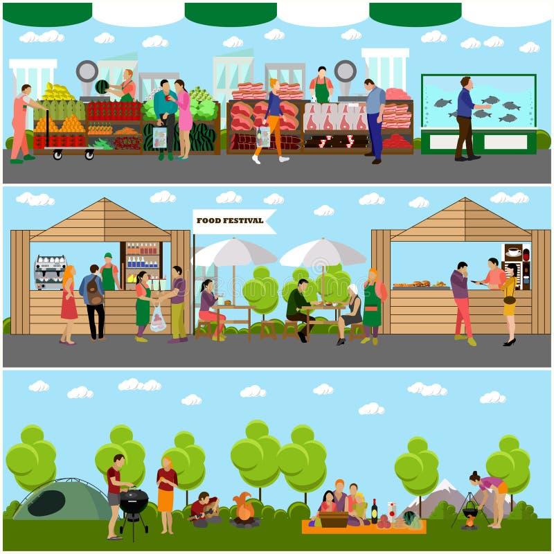 Vektorsatz Straßenlebensmittelfestival-Konzeptfahnen Leute, die in einem Park kampieren lizenzfreie abbildung