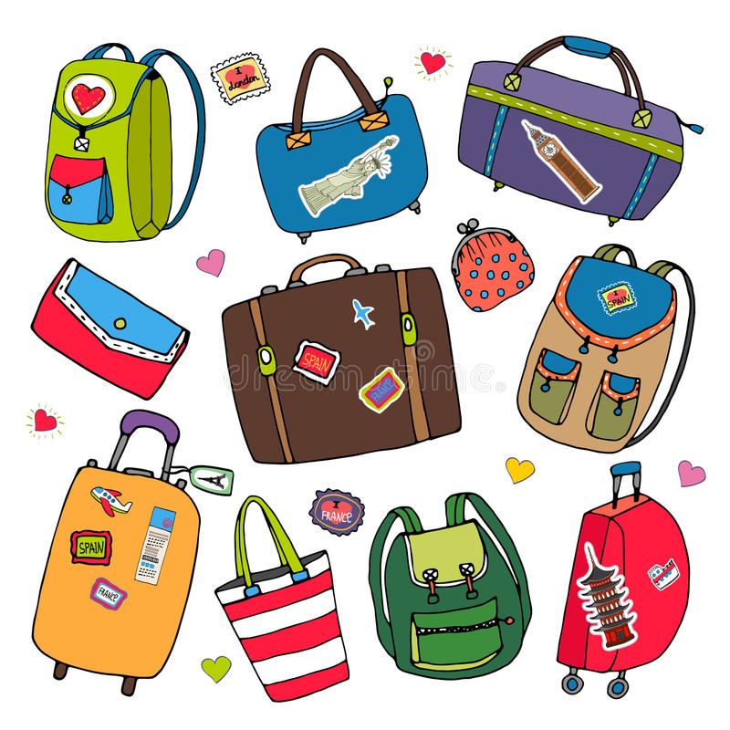 Vektorsatz Taschen, Rucksäcke und Koffer. vektor abbildung