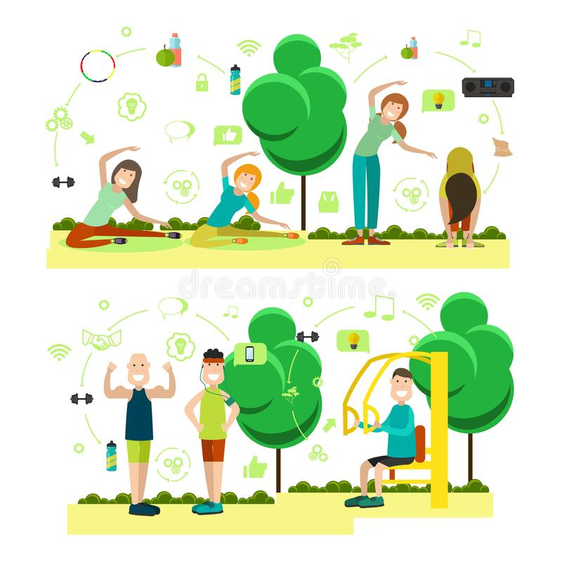 Vektorsatz Training außerhalb der flachen Symbole der Leute, Ikonen stock abbildung