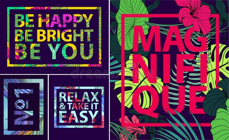 Vektorsatz tropische Zitate, Poster und Fahnen Moderne Drucke in den quadratischen Rahmen Feiertagskarten mit Palmblättern lizenzfreie abbildung