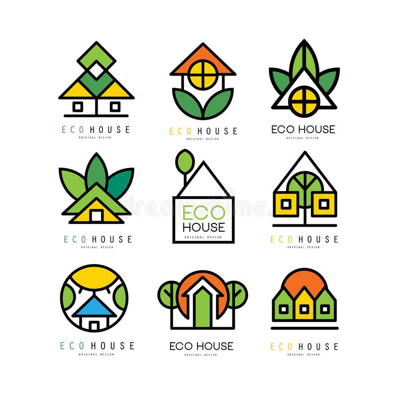 Vektorsatz ursprüngliche Logos mit eco freundlichen Häusern Ökologischer Aufbau Lineare Embleme für oder Architektur lizenzfreie abbildung