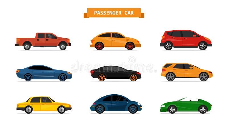 Vektorsatz verschiedene Autos lokalisiert auf weißem Hintergrund Autoikonen und -Gestaltungselemente stock abbildung