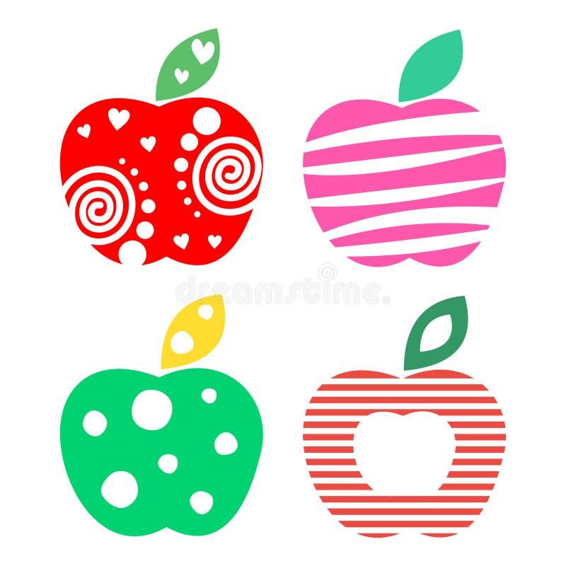 Vektorsatz verschiedene Fruchtillustrationen Dekorative dekorative bunte Äpfel lokalisiert auf dem weißen Hintergrund lizenzfreie abbildung