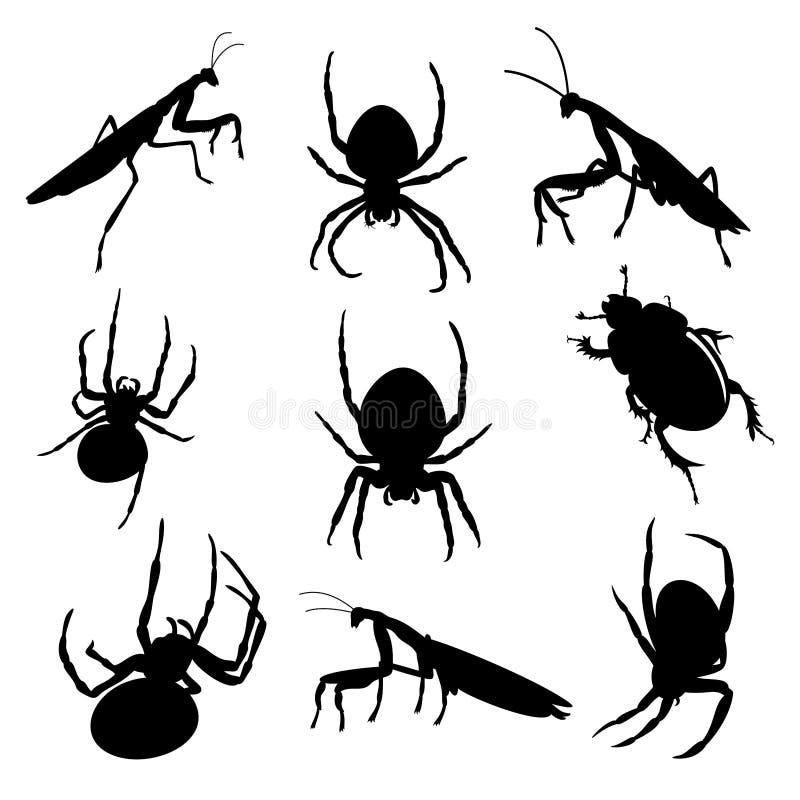 Vektorsatz verschiedene Insekten: Gottesanbeterin, Spinne und Erdebohrenmistkäfer in der schwarzen Farbe stock abbildung