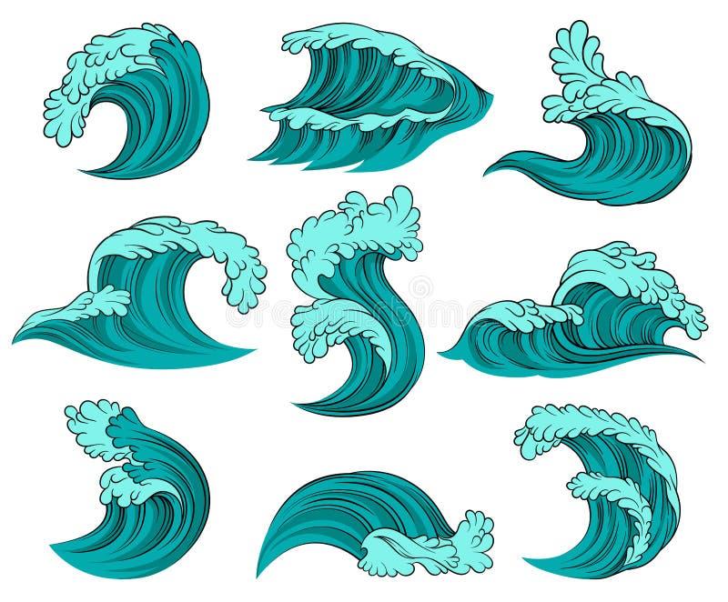 Vektorsatz verschiedene Meereswellen mit Schaum Hohe Ozeangezeiten Elemente für die Werbung des Plakats, des Kinderbuches oder de lizenzfreie abbildung