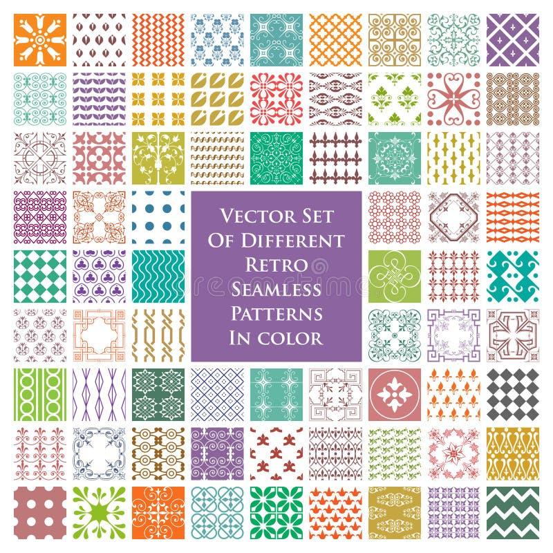 Vektorsatz verschiedene Retro- nahtlose Muster in der Farbe lizenzfreie abbildung