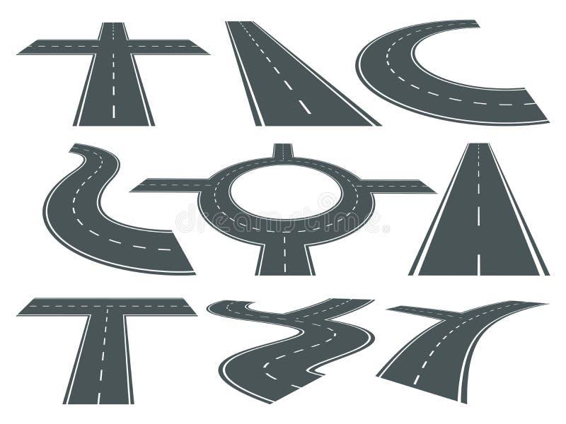 Vektorsatz verschiedene Straßen der Bahn Geschwindigkeit gebogenes Symbol für Logodesign Landstraßenillustrationen lizenzfreie abbildung