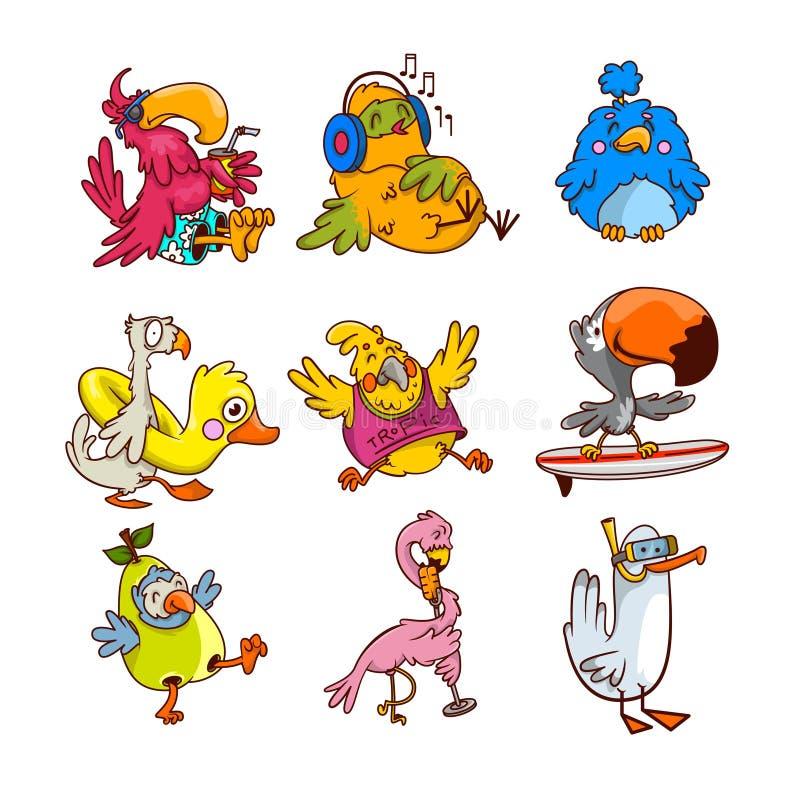 Vektorsatz verschiedene tropische Vögel in den verschiedenen Aktionen Exotische humanisierte Geschöpfe Monsterzeichen in der Stad lizenzfreie abbildung