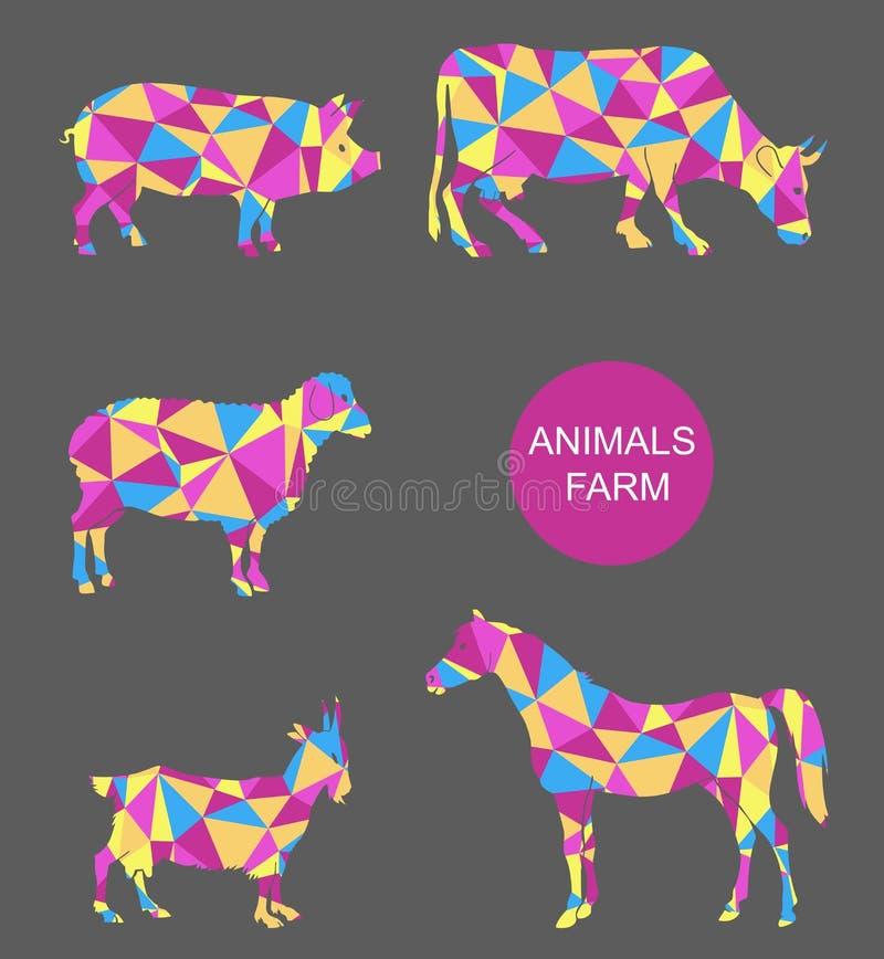 Vektorsatz Vieh Kuh, Schaf, Ziege, Schwein, Pferd lizenzfreie abbildung