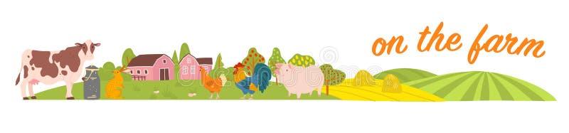 Vektorsatz Vieh: Schwein, Huhn, Kuh, Kaninchen mit gemütlicher Dorflandschaft, Haus, Garten, Felder Weißer Hintergrund vektor abbildung