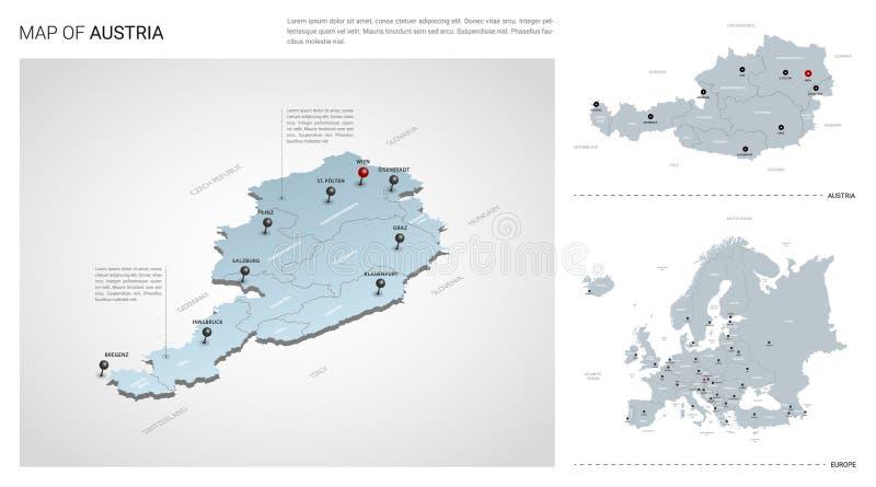 3d Karte Osterreich.3d Osterreich Land Karte Vektor Abbildung Illustration Von