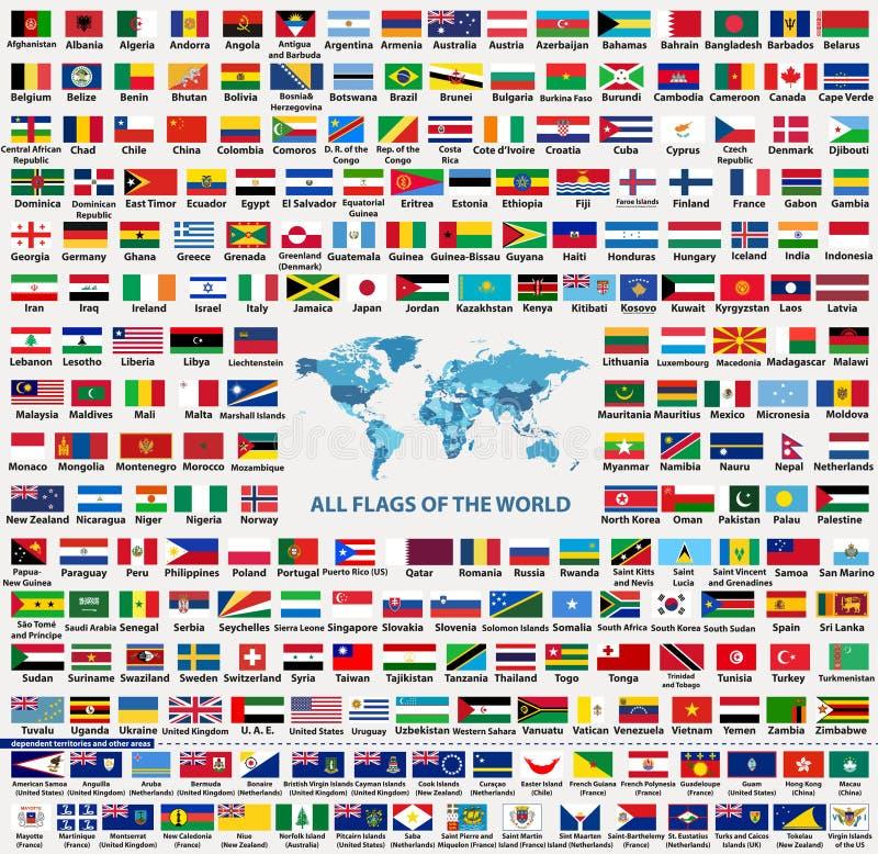 Vektorsatz von allen Weltlandflaggensouveränen staaten, Abhängiger, Überseegebiete und andere Bereiche, - Summe von 232 Flaggen vektor abbildung